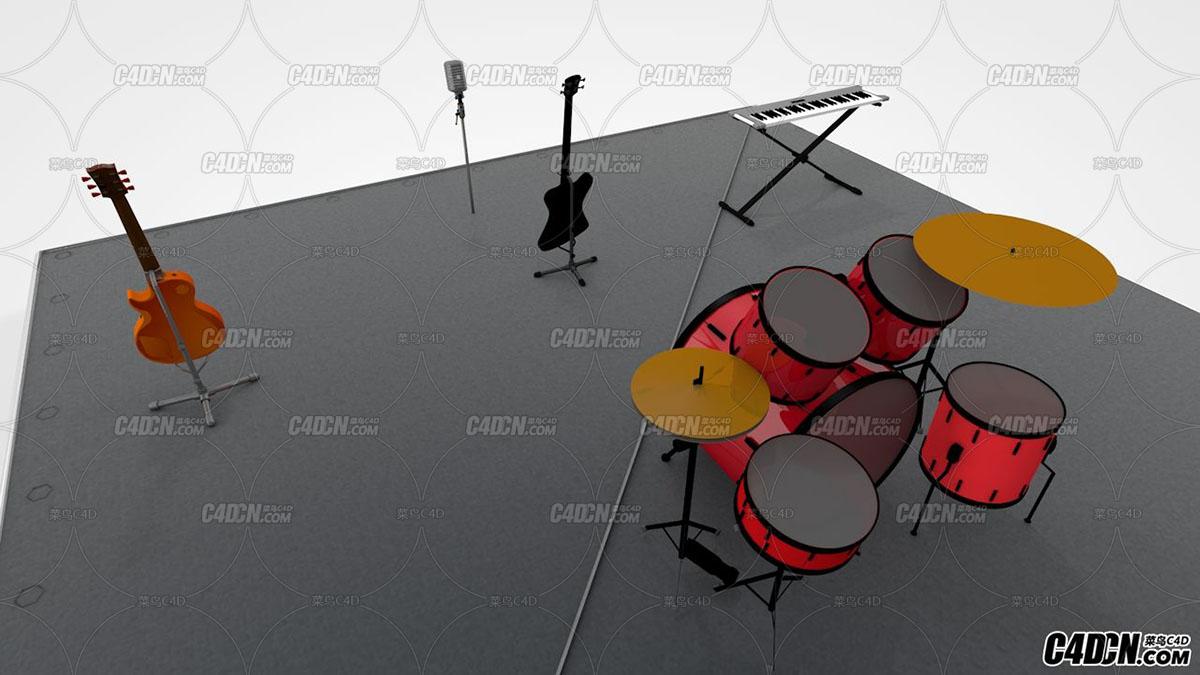 C4D 舞台架子鼓 电吉他 电子琴 麦克风模型