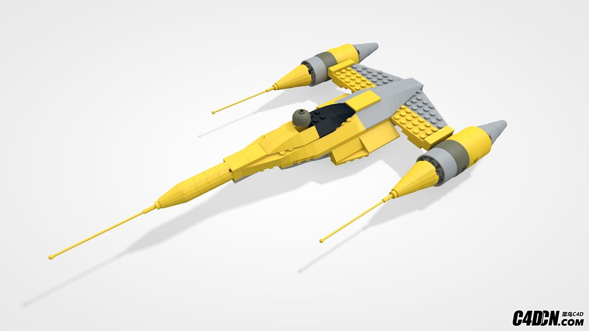 乐高积木玩具 未来科幻战斗机 C4D模型