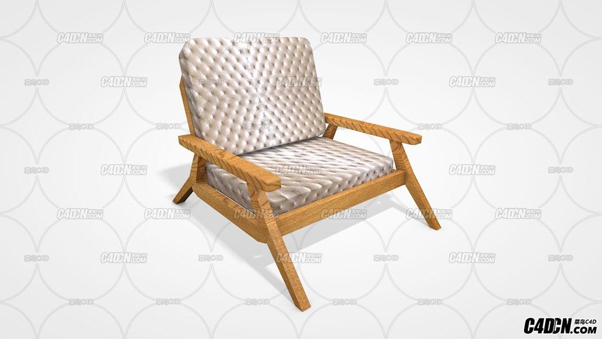 C4D木腿皮革材質沙發模型