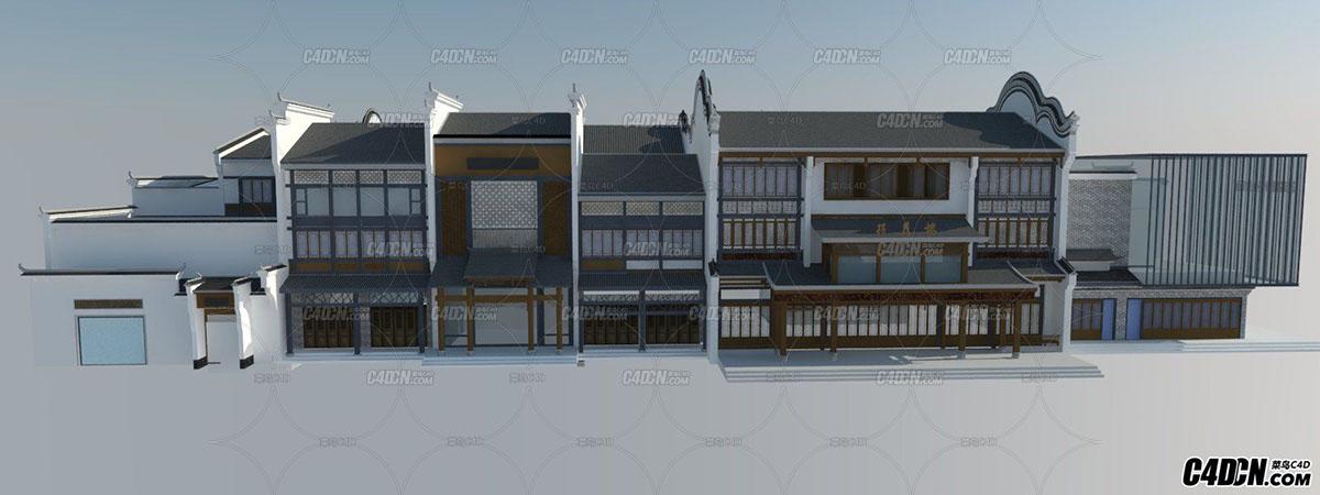 新中式商業建筑模型