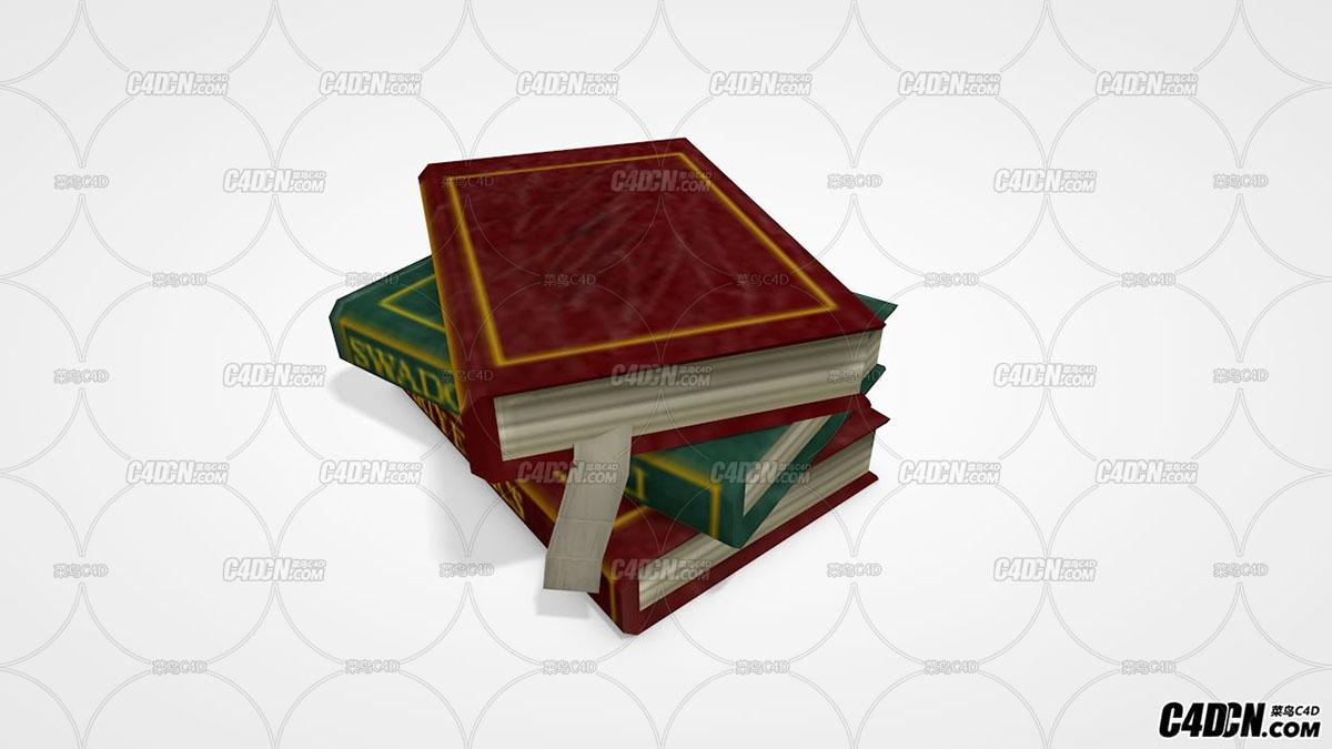 C4D书本模型 三本书