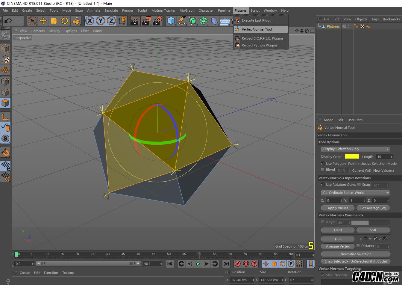 C4D頂點法線插件 Cinema 4D Vertex Normal Tool v1.03