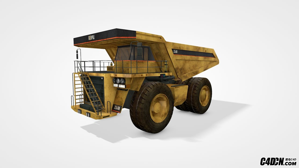 C4D模型 大型运输车 工程车 挖土车模型