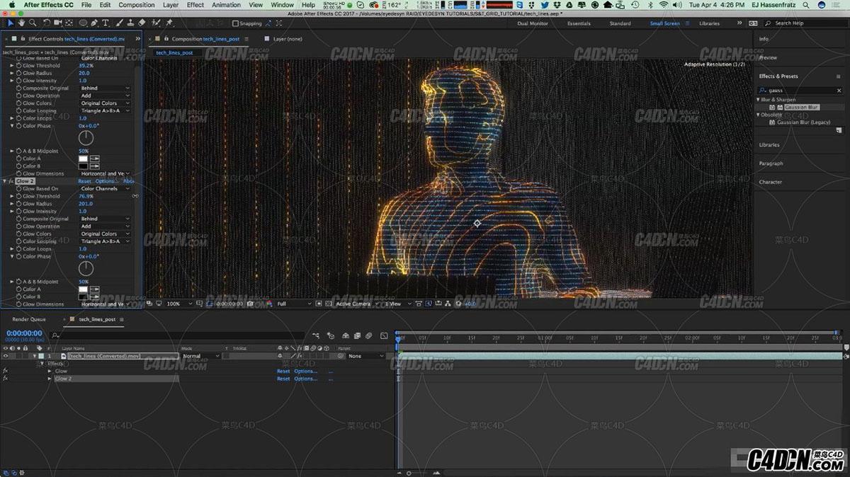 [C4D+AE教程] 使用C4D渲染一个高科技HUD全息投射