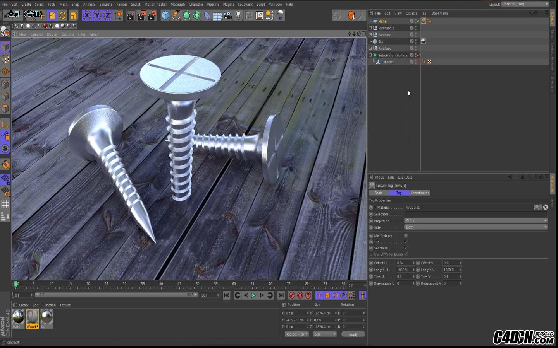 CINEMA 4D教程——螺丝钉建模纹理与渲染