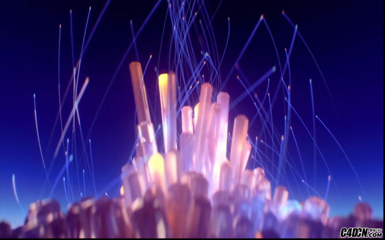 C4D/AE教程—— 水晶城流光粒子光線渲染與合成 水晶礦石