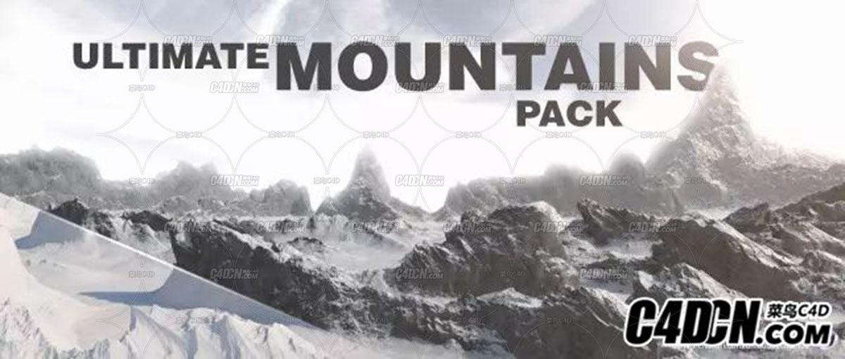 22个C4D山地景观3D素材包