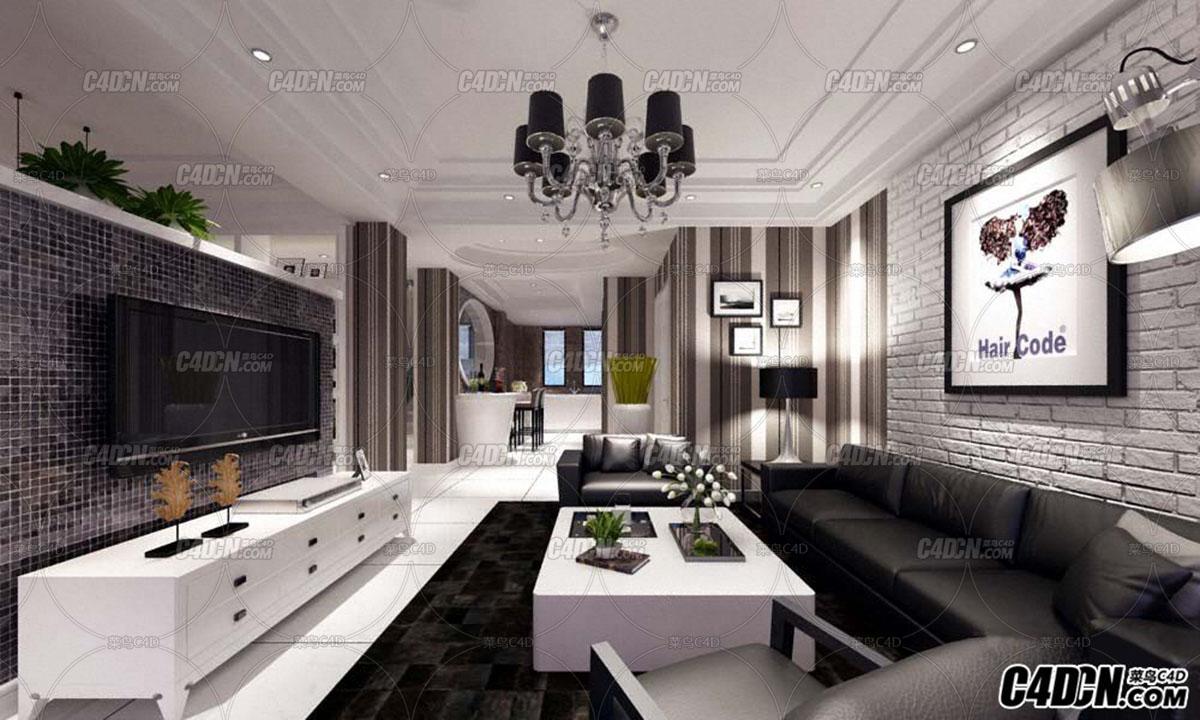 3D MAX黑白灰风格整体室内设计工程模型