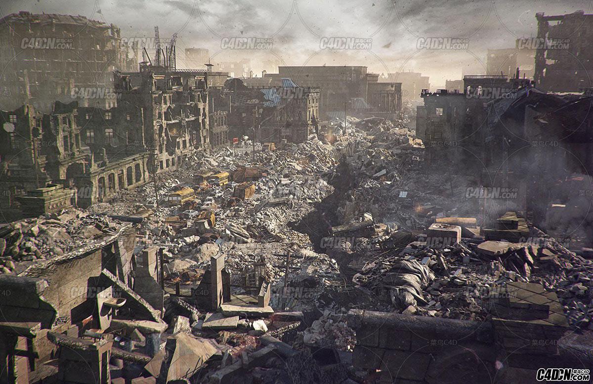 城市战争室外废墟模型