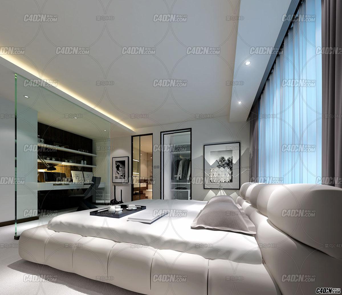 MAX模型 前门前主卧室室内效果图工程