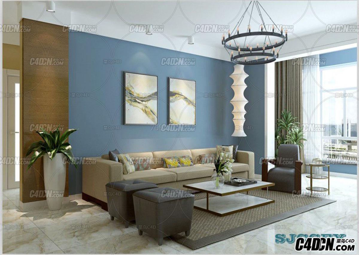 淡蓝色简约风格客厅装修效果图 2011MAX模型