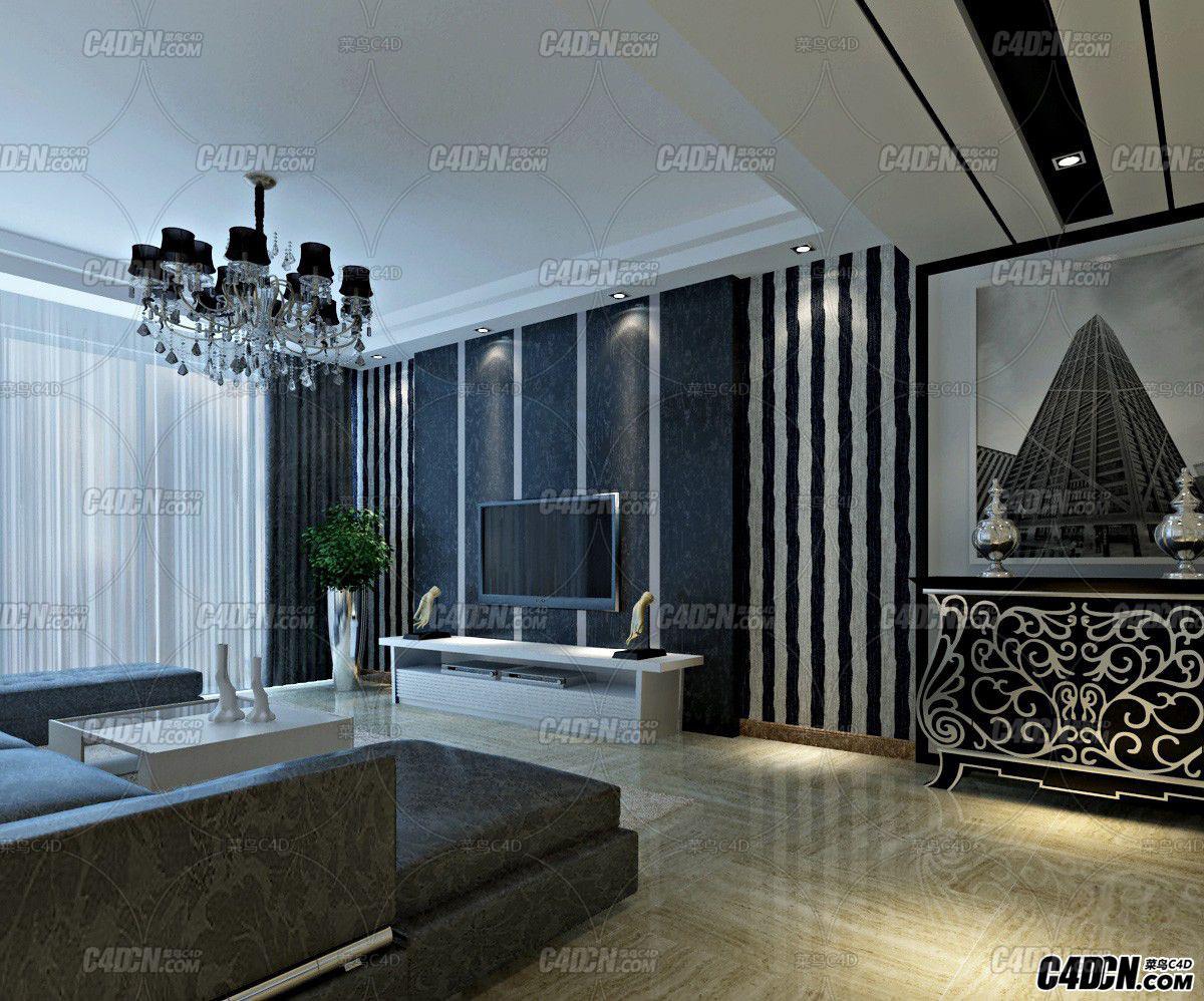 简约风格客厅 餐厅装修效果图模型 MAX2011