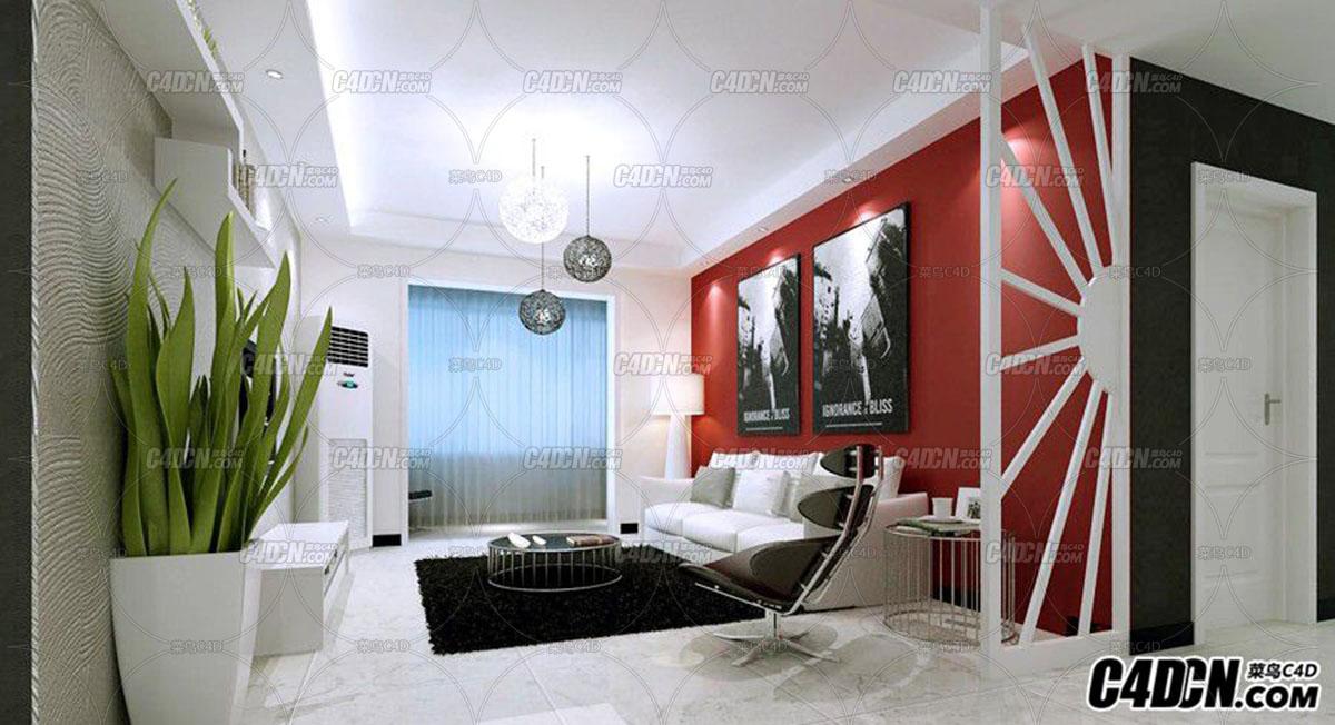 黑白风格客厅装修效果图模型 MAX2009