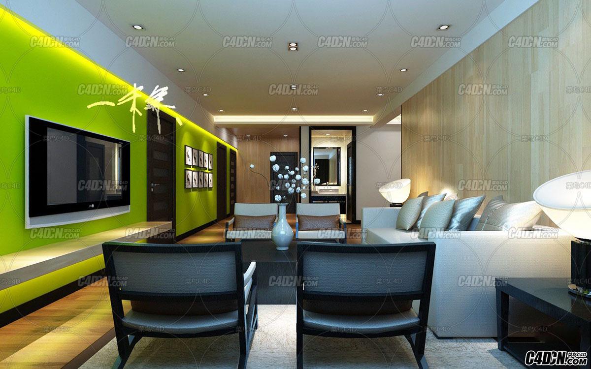 环保色客厅装修效果图模型 MAX2009