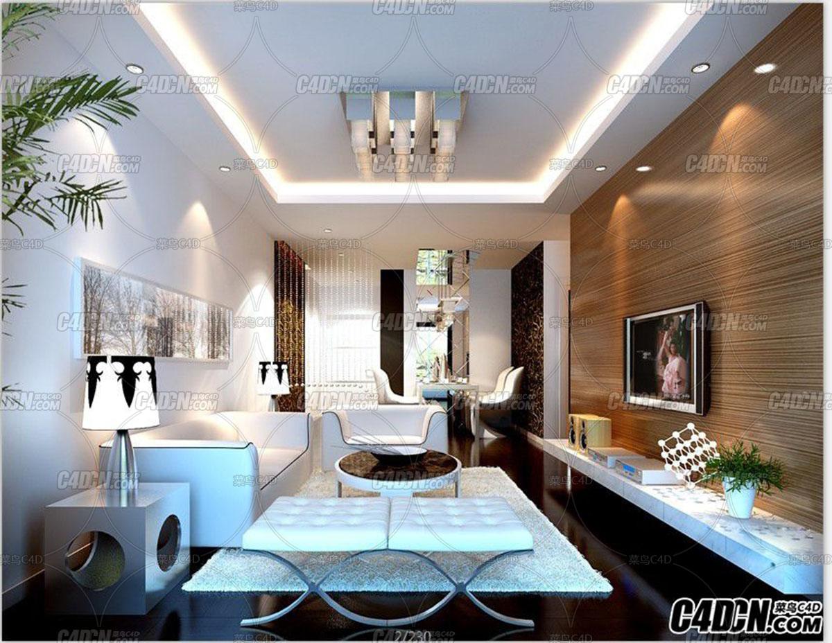 简约时尚客厅装修效果图模型