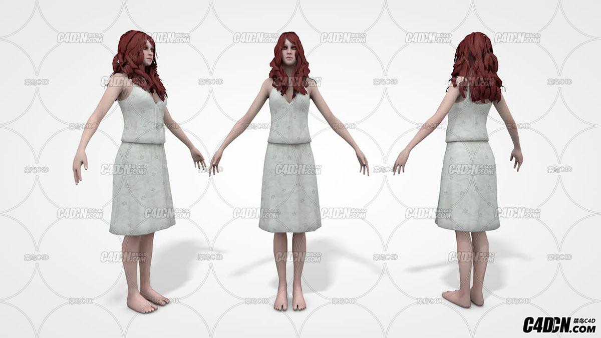 C4D穿连衣裙的女人 女性模型