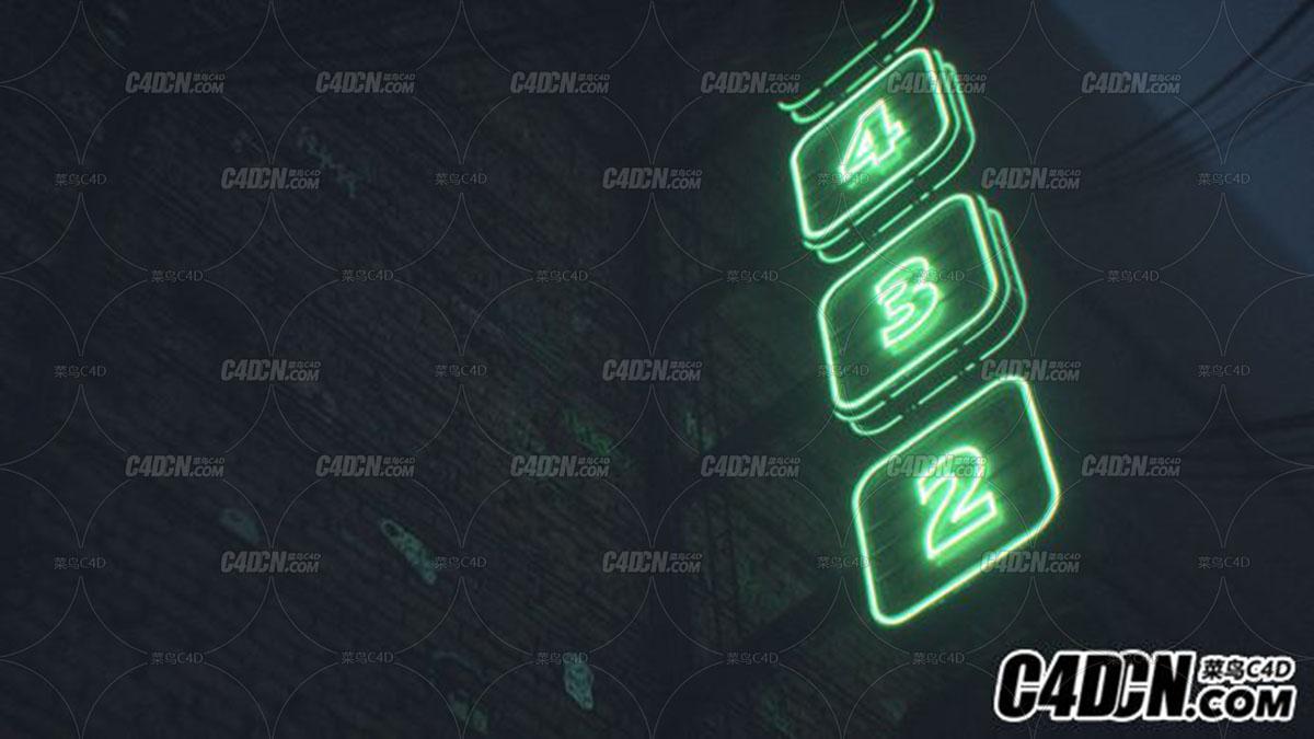 C4D 公路霓虹灯广告牌表达式工程版预设 Neon Sign Generator Xpresso Rig