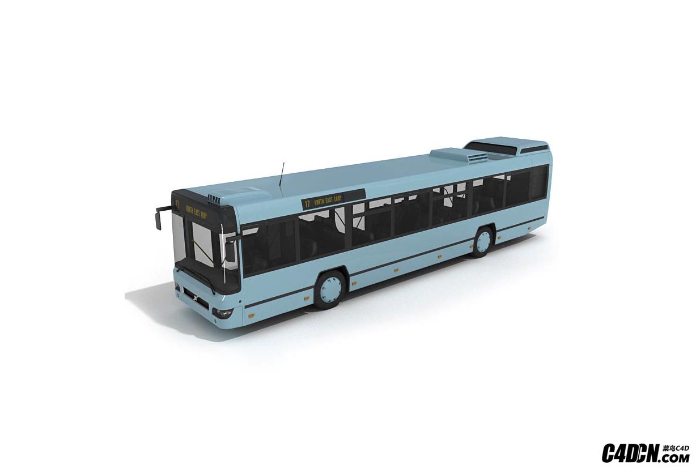 C4D城市公交车模型 公共设施 交通工具