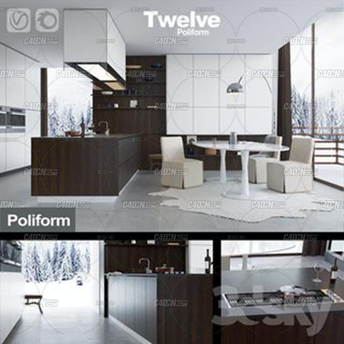 3DSky模型 12套现代化厨房室内工程模型合集