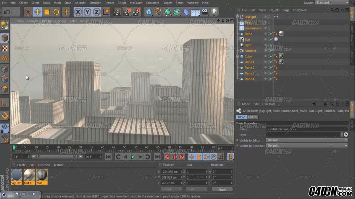 C4D小教程-如何在5分钟内创建一个整个城市模型在无插件没模型情况下