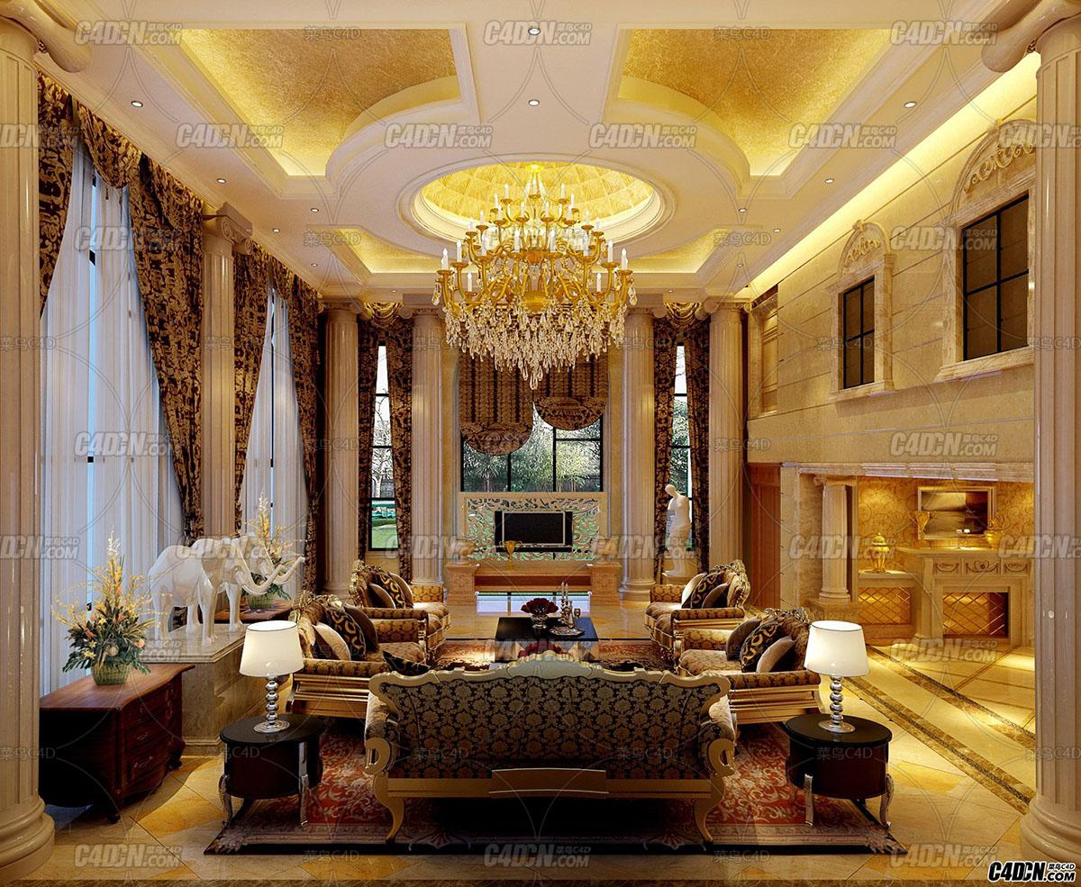 3D模型 欧式客厅 室内工程28