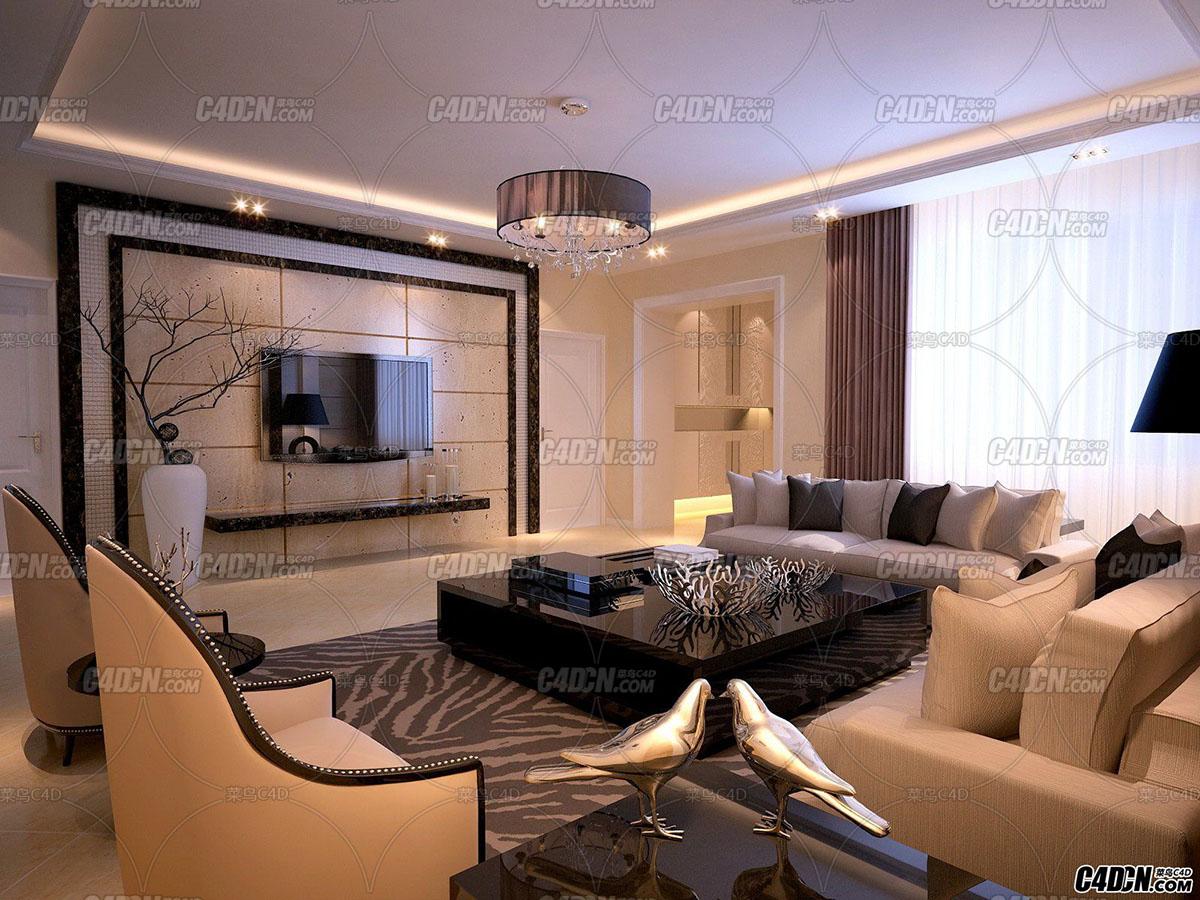 3D模型 欧式客厅 室内工程65