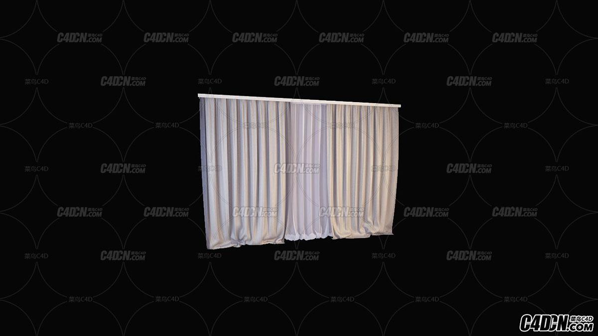 C4D模型 现代装修 窗帘模型21
