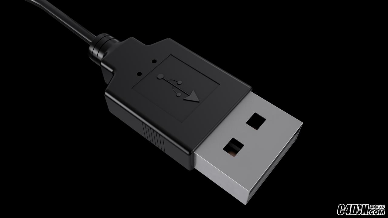 C4D模型 USB插頭 電腦插頭