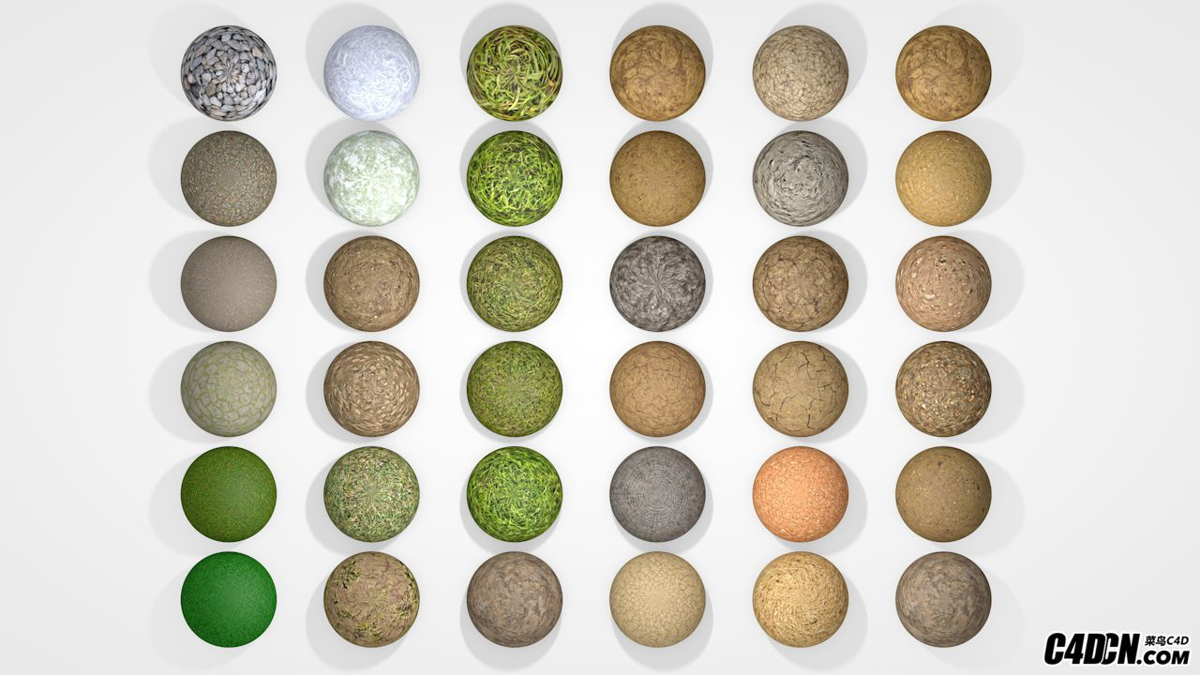 C4D材质球 36个地皮植被 地面材质球预设合集