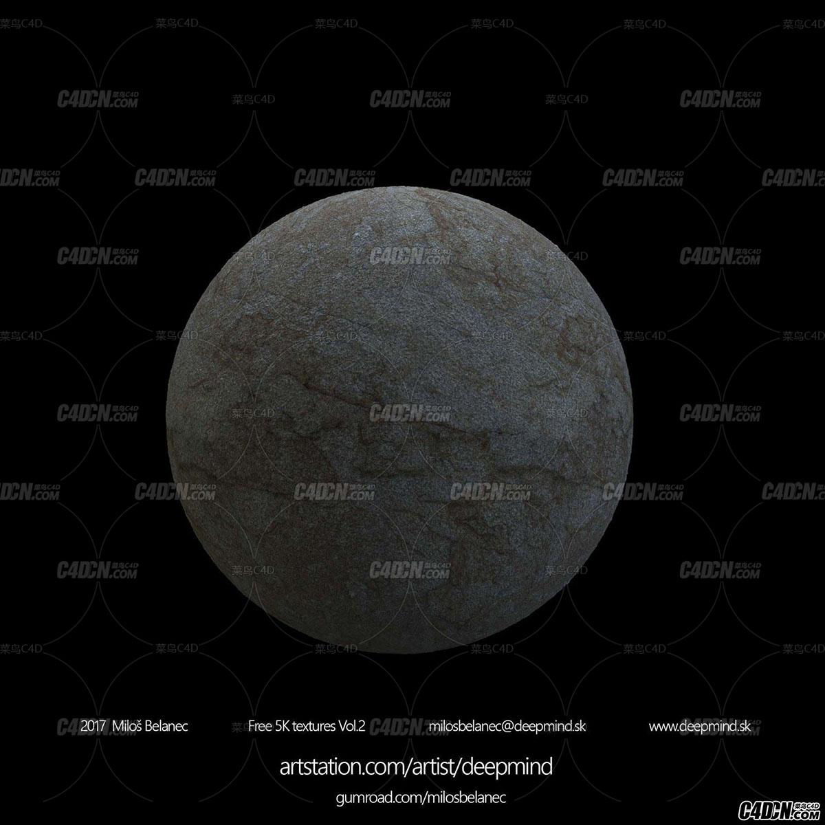 5K大尺寸的超清地面貼圖和石塊模型