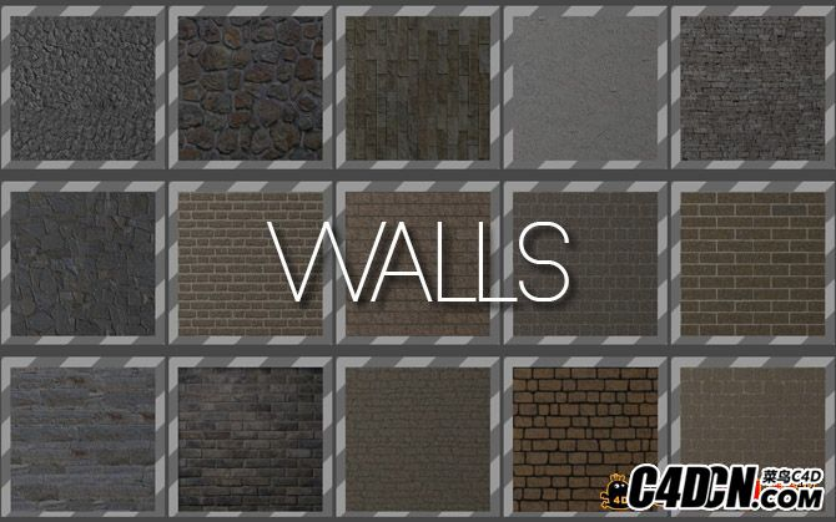35个C4D砖墙 墙面材质球合集 Wall Textures For Cinema 4D