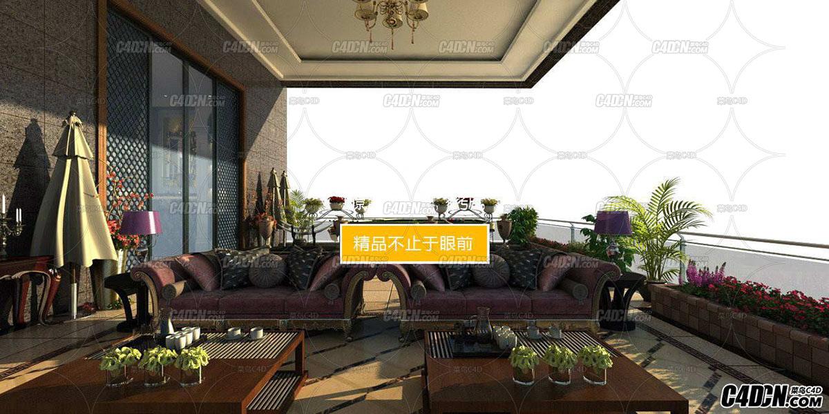 3D模型 豪华住宅超大阳台效果图工程2