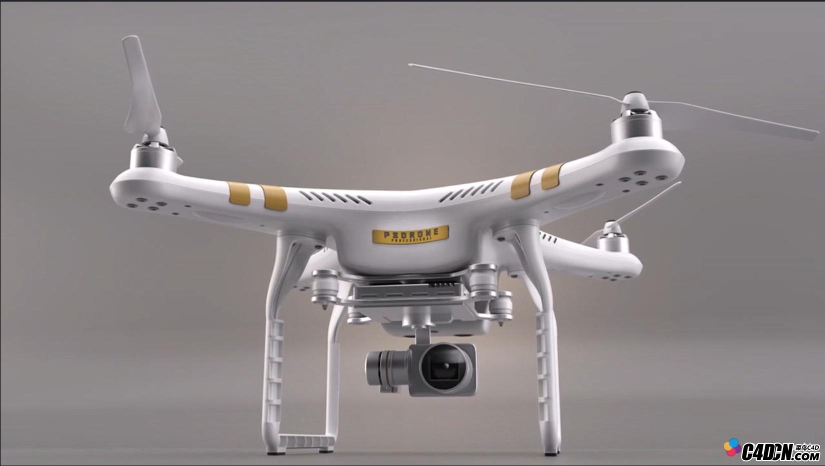 C4D无人机建模渲染视频教程 大疆精灵3