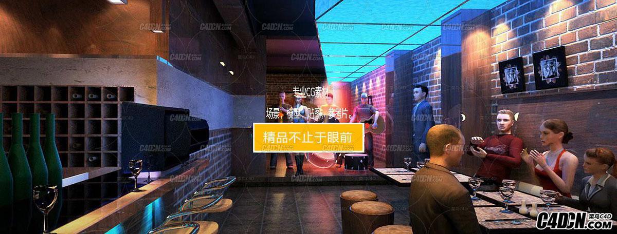 3D模型 酒吧装修效果图工程