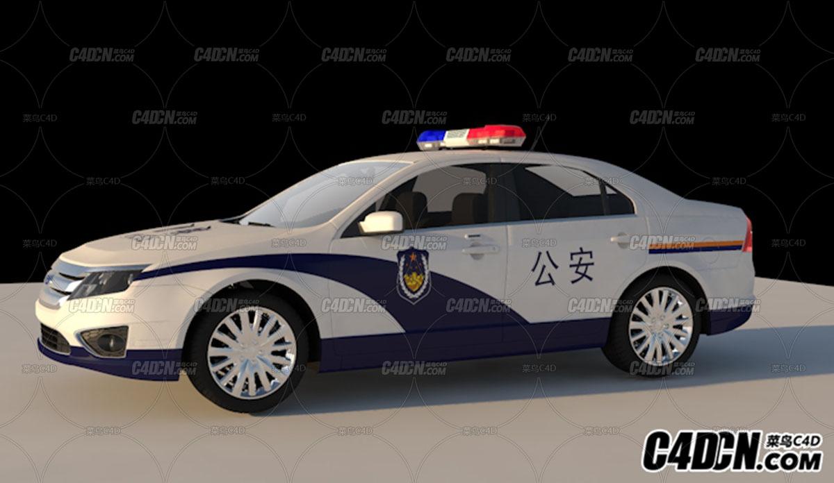 警车c4d模型带贴图