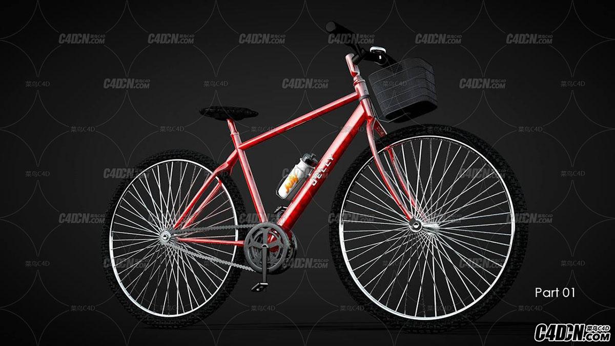C4D教程 全细节精品自行车建模渲染教程