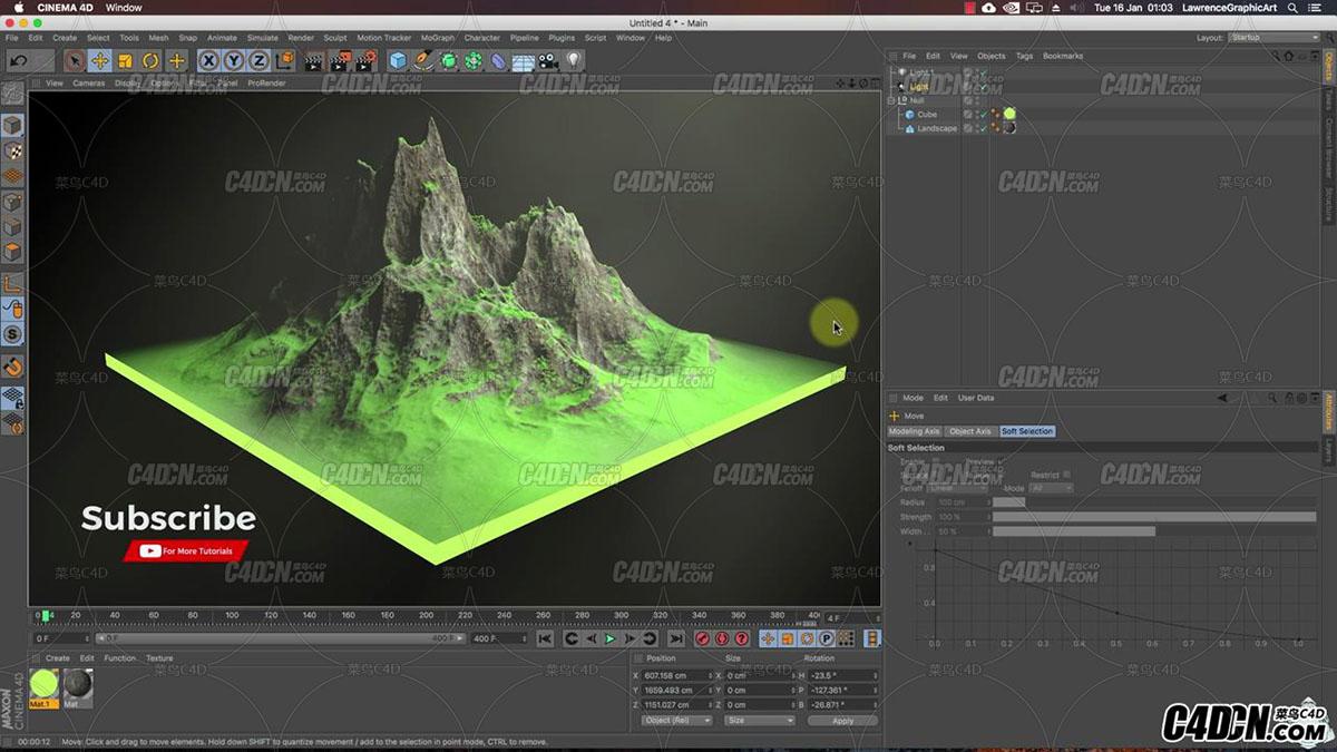 C4D教程-如何在Cinema 4D中做一个岩石山