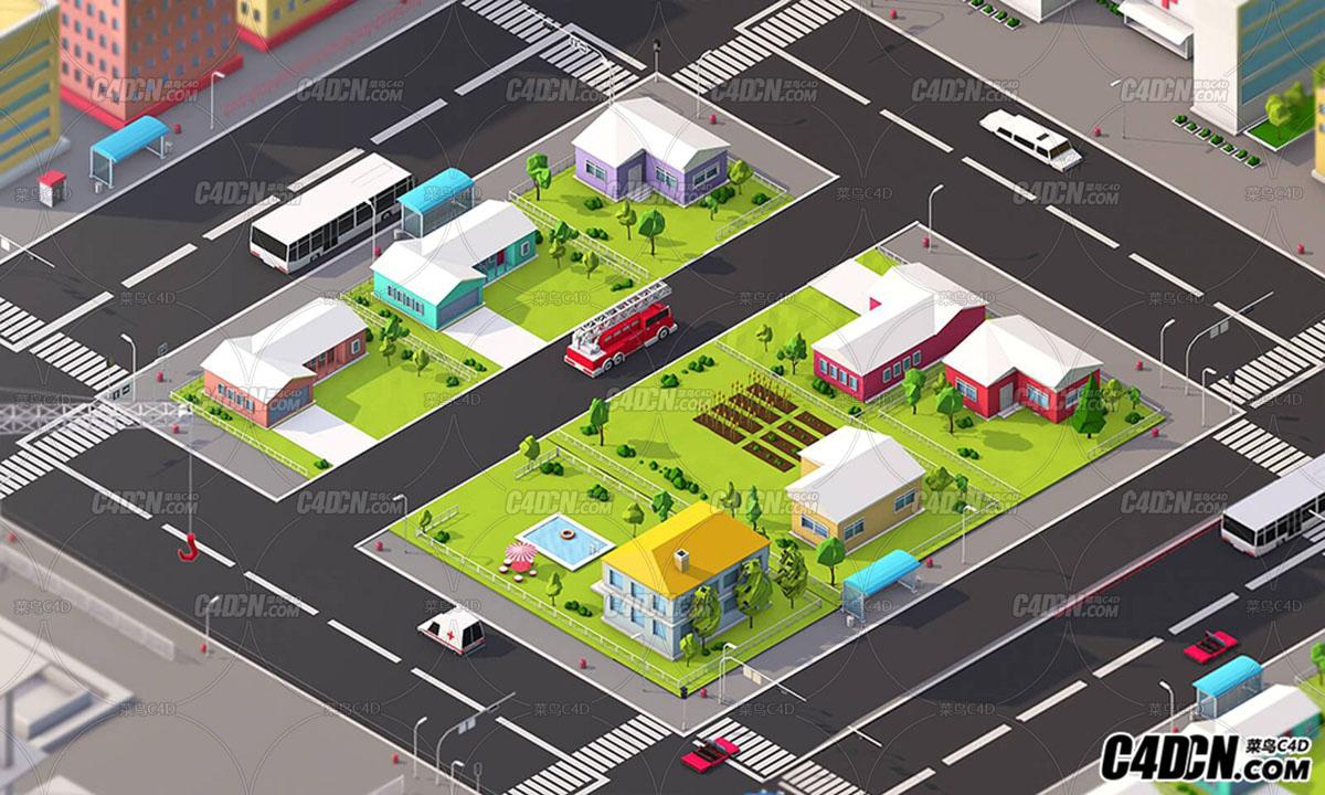 C4D低多边形城市楼房模型城市建筑汽车工厂楼房别墅