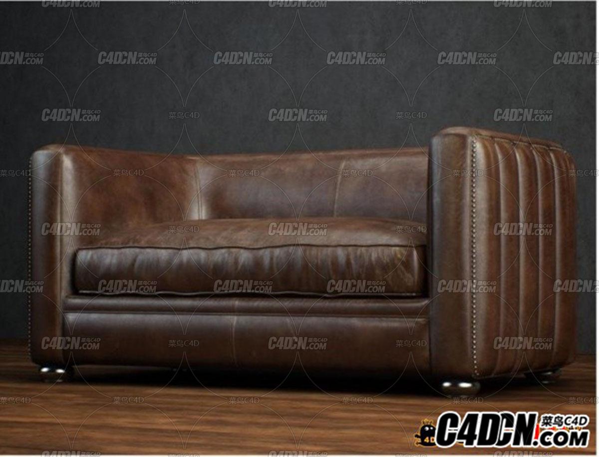 C4D模型 單人真皮沙發模型