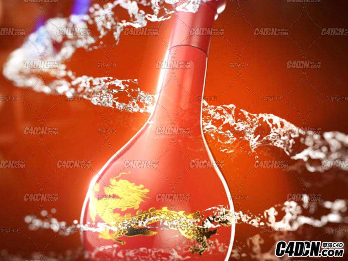 C4D+RS渲染酒水动画广告源文件