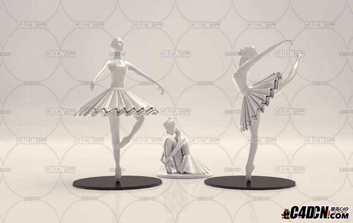 C4D模型 芭蕾舞女孩雕塑三款姿势模型