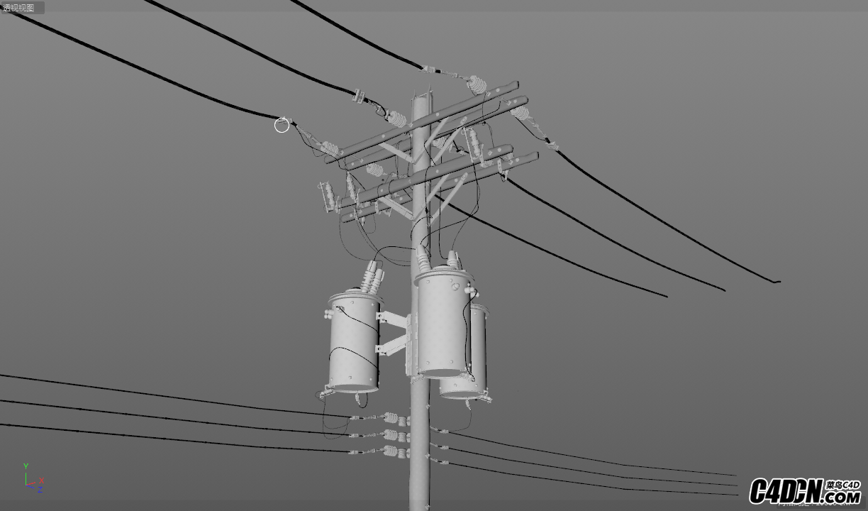 C4D模型-电线杆模型 -含材质贴图