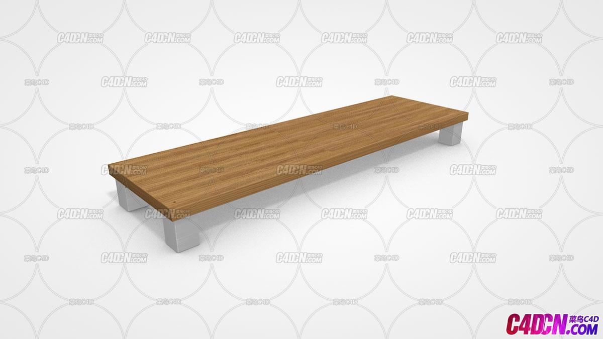 C4D模型 16 四腿木板长凳模型 Bench
