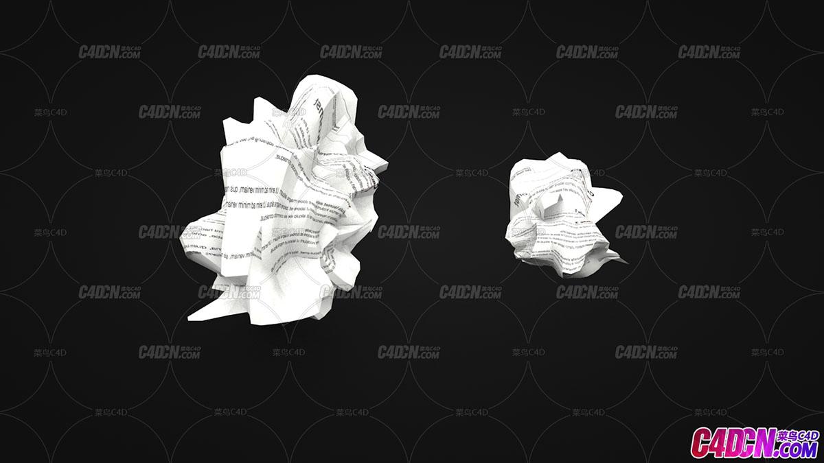 C4D模型 59 蜷曲弯折的旧报纸张纸团模型 Crumpled Paper