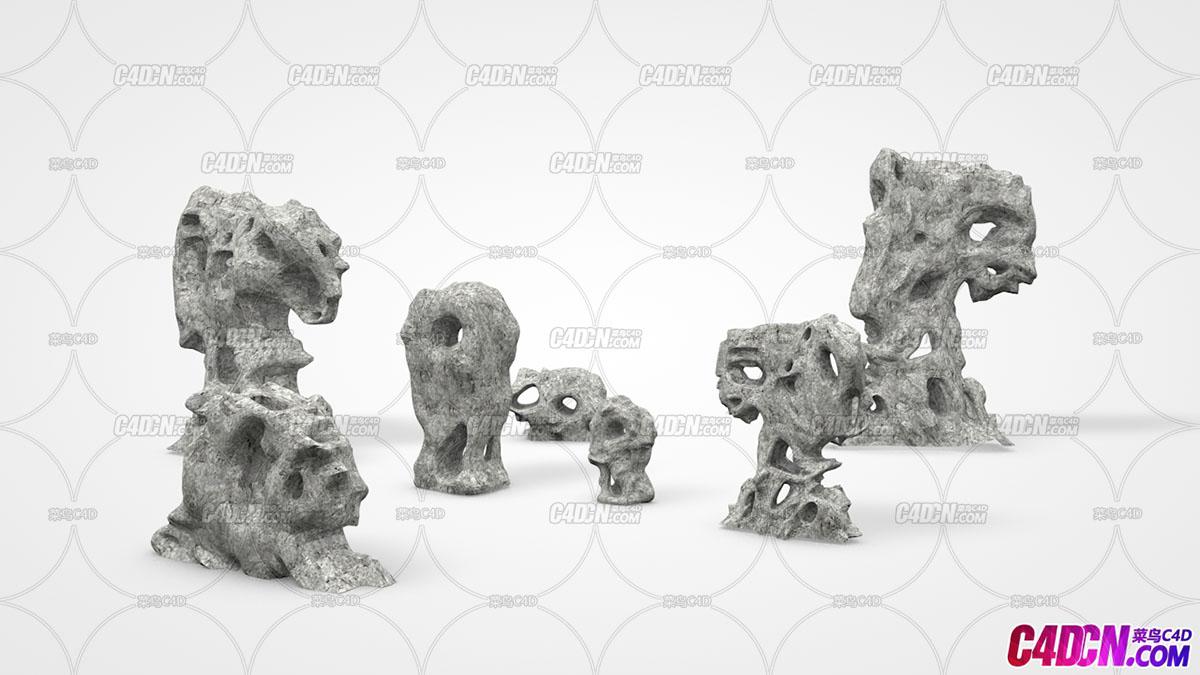C4D模型 假山石头 观赏石