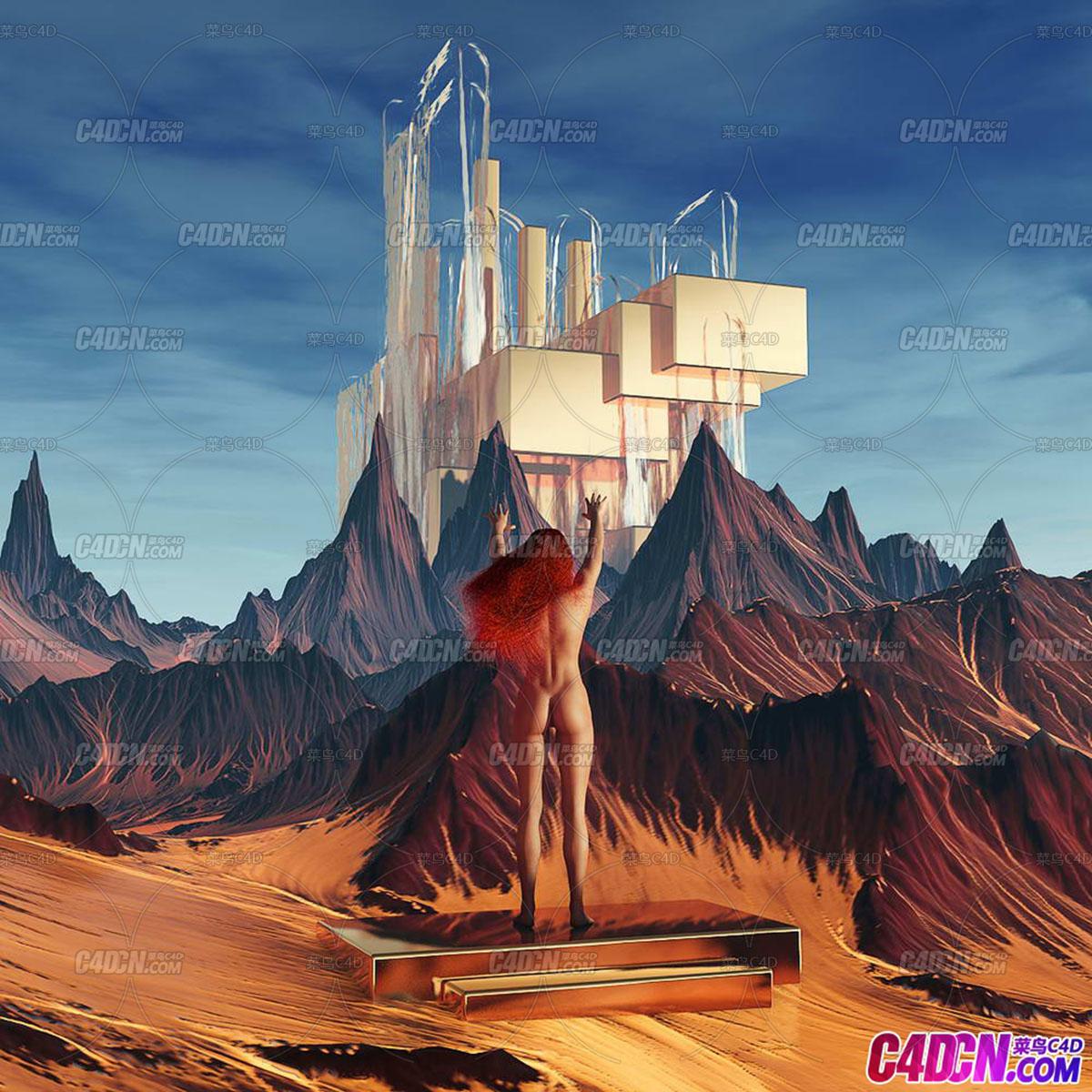 C4D精品工程 No.265 注视远方山峰建筑的女人体背影  Melisandre