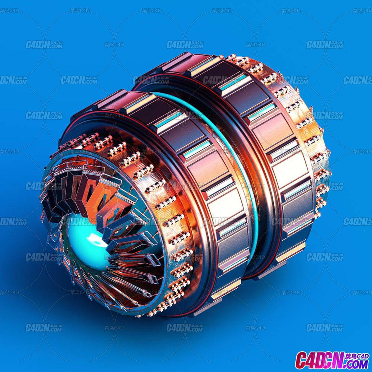 C4D优秀工程文件 No.282 机械引擎 Dynamo
