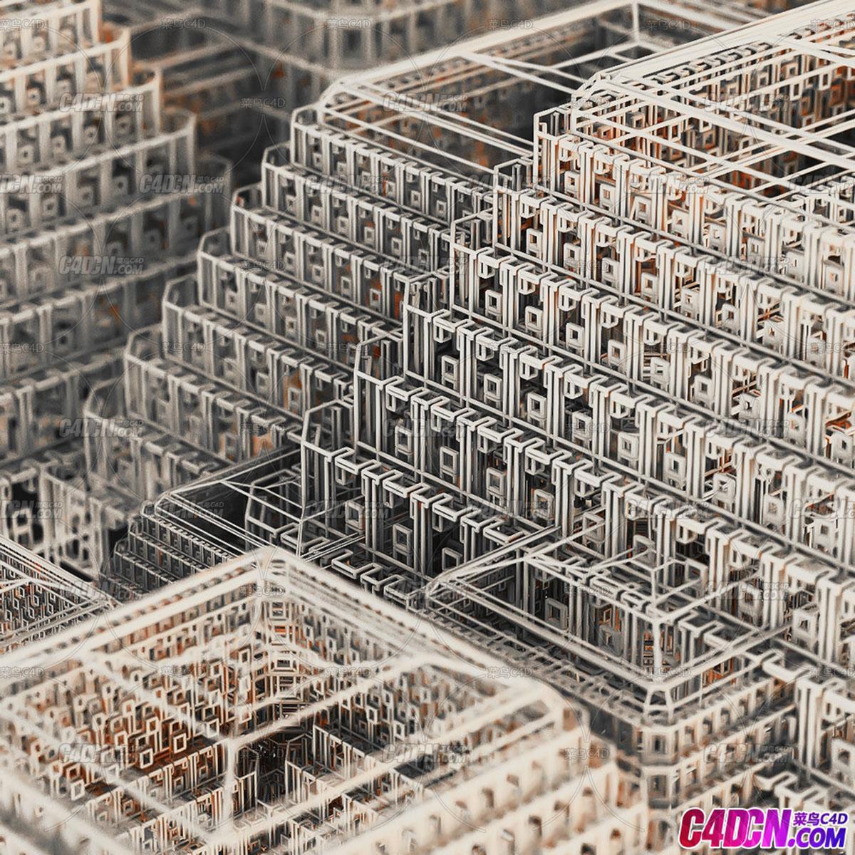 C4D精品工程 No.366堆砌金字塔编队