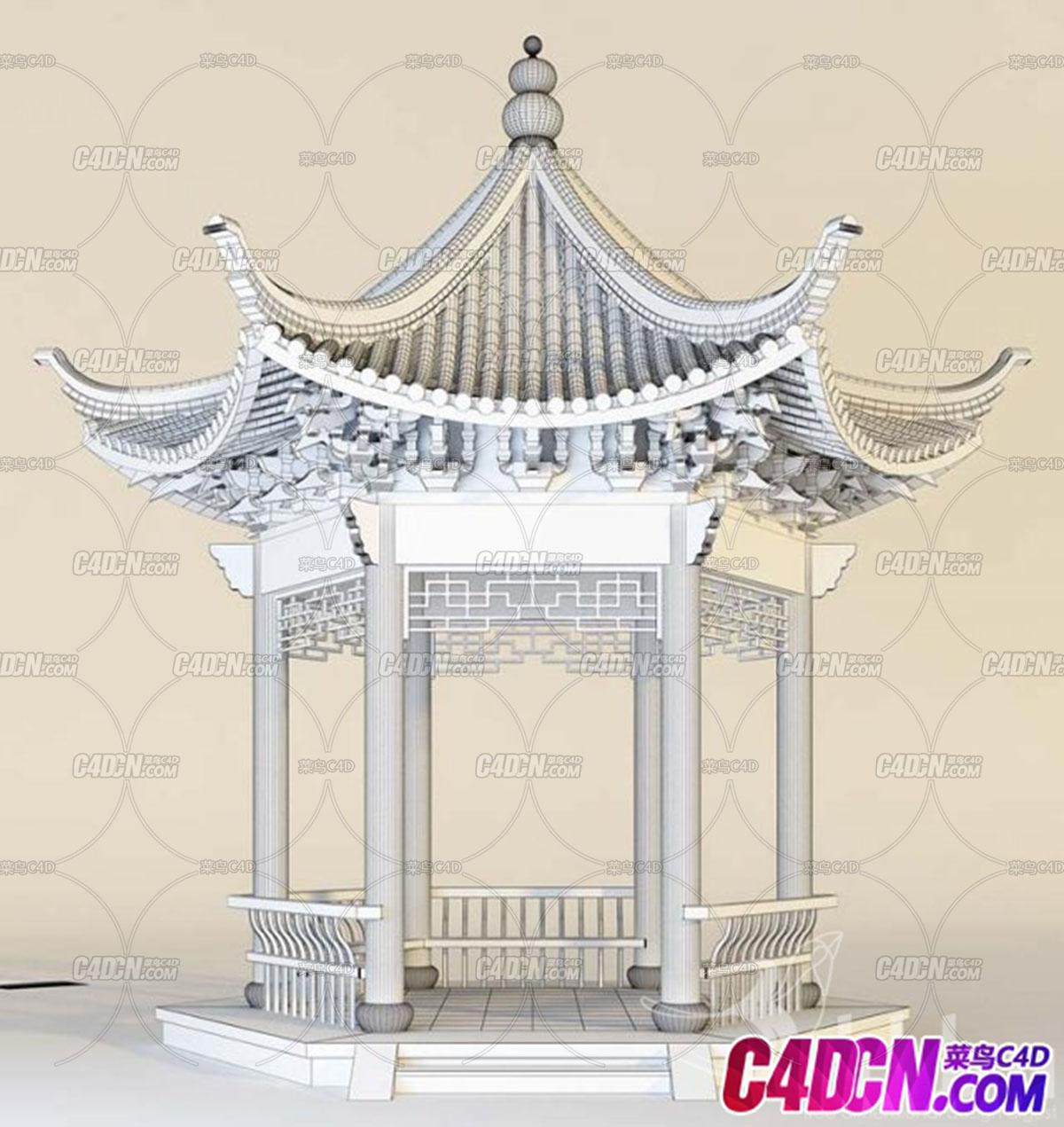 C4D建筑模型 05六角凉亭