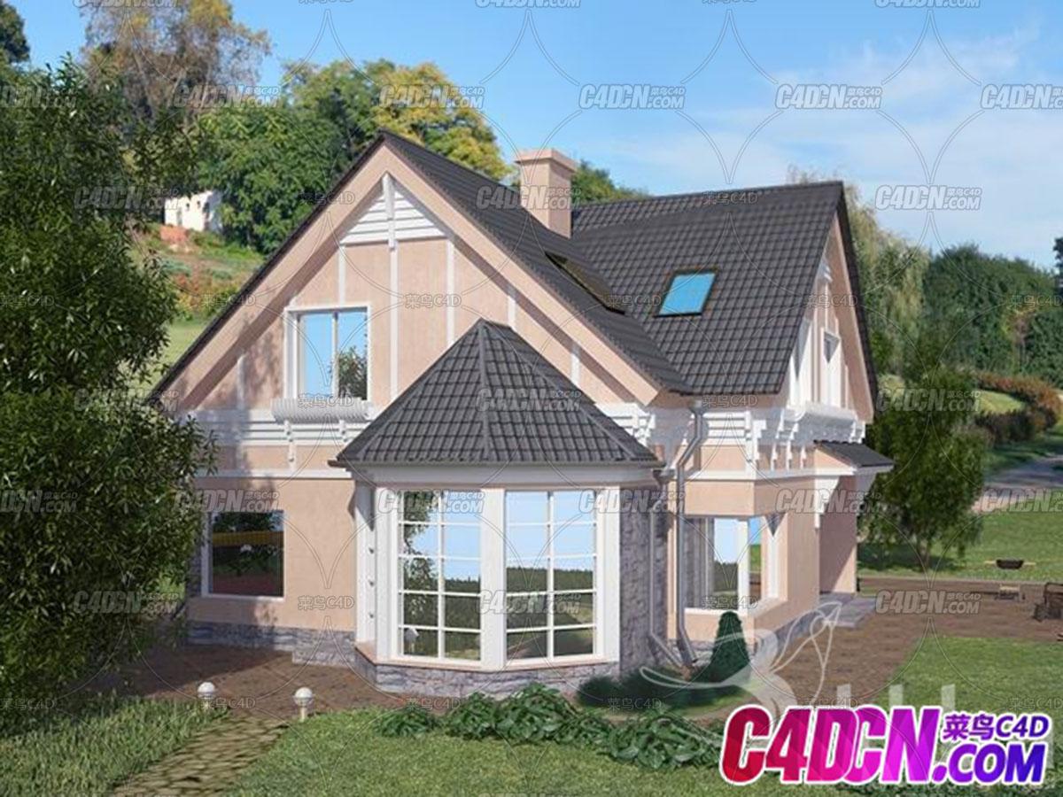 C4D建筑模型 09 私家别墅